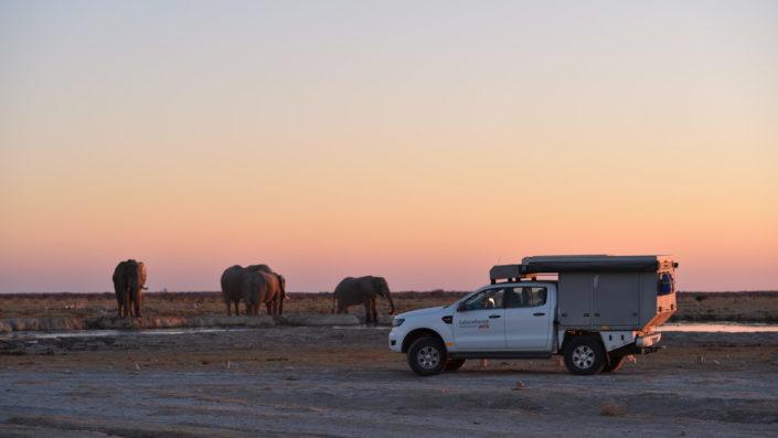 Heidi, Barbara mit Elefanten am Nxai Pan Wasserloch