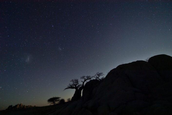 Baobab und Granitfelsen