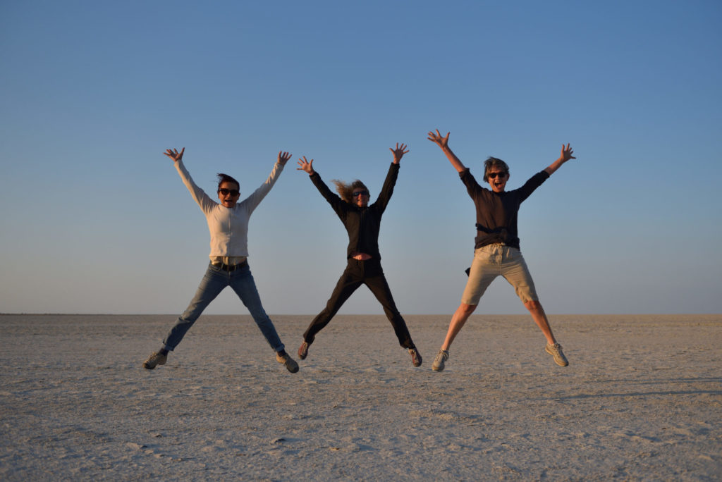 3 ladies in the air